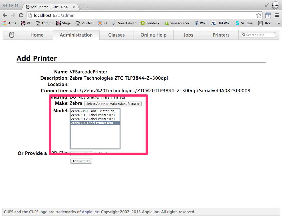 Printer Setup Instructions - Zebra GX430t - OSX – Vinfolio Help Desk